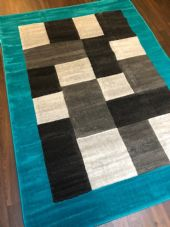 NEW MODERN BLOCK DESIGN RUGS TEAL 150X210CM 7X5FT APPROX GREAT QUALITY MATS